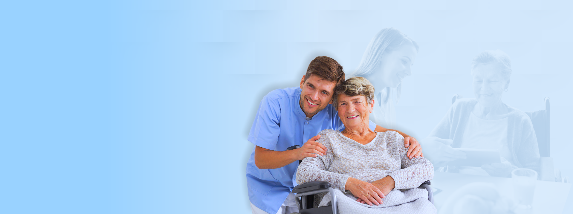 elderly woman sitting besides her caregiver